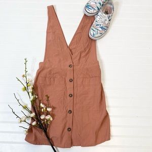 Sienna Sky Dusty Pink Overall Button Front Dress